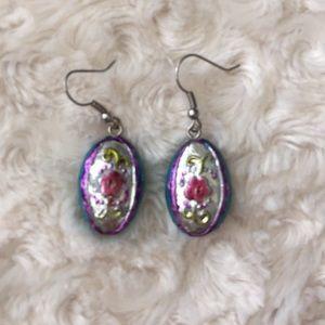 Oval shaped, flower earrings
